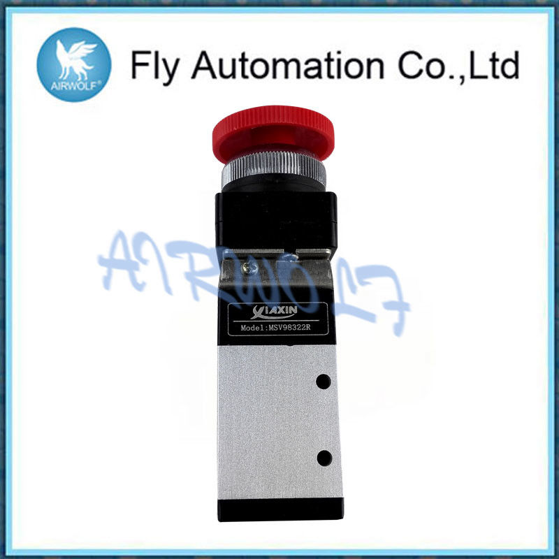 Aluminium Alloy 3 Way Pneumatic Valve , MSV9832 Series Push Pull Valve