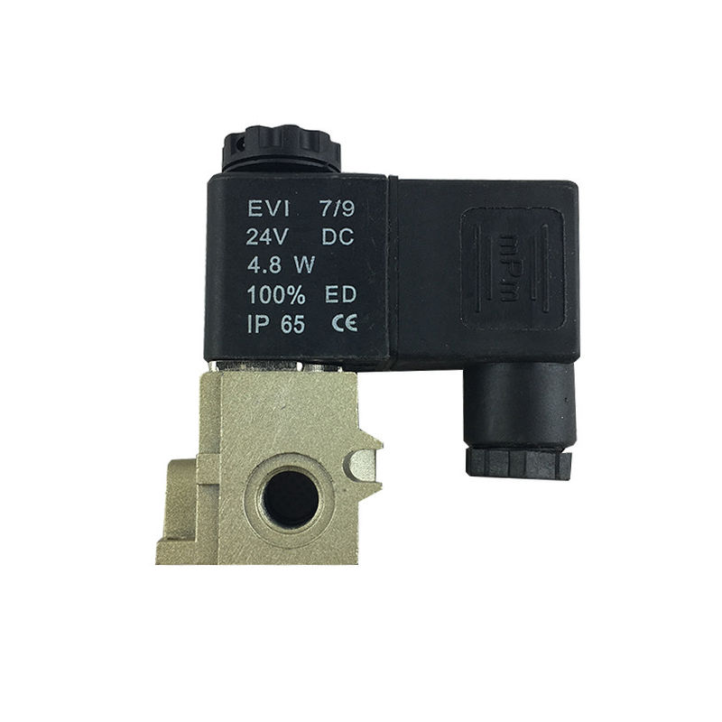 AC220V 5/2 Way Pilot Operated Dc Valve Normal Closed Type Brass Body Material
